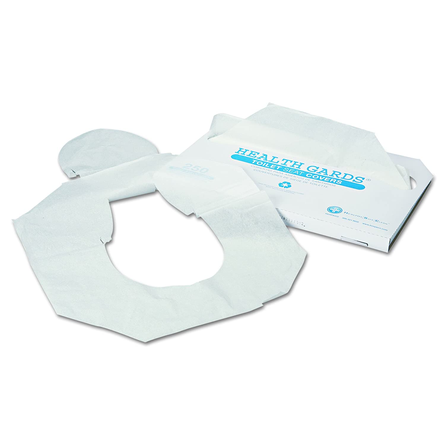 HOSPECO HG1000 Health Gards Toilet Seat Covers, Half-Fold, White, Pack of 250 (Case of 4)