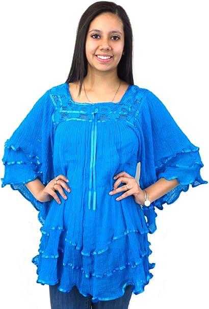 Amazon.com: Leos Imports (TM) mexicano blusa Angelita gasa ...
