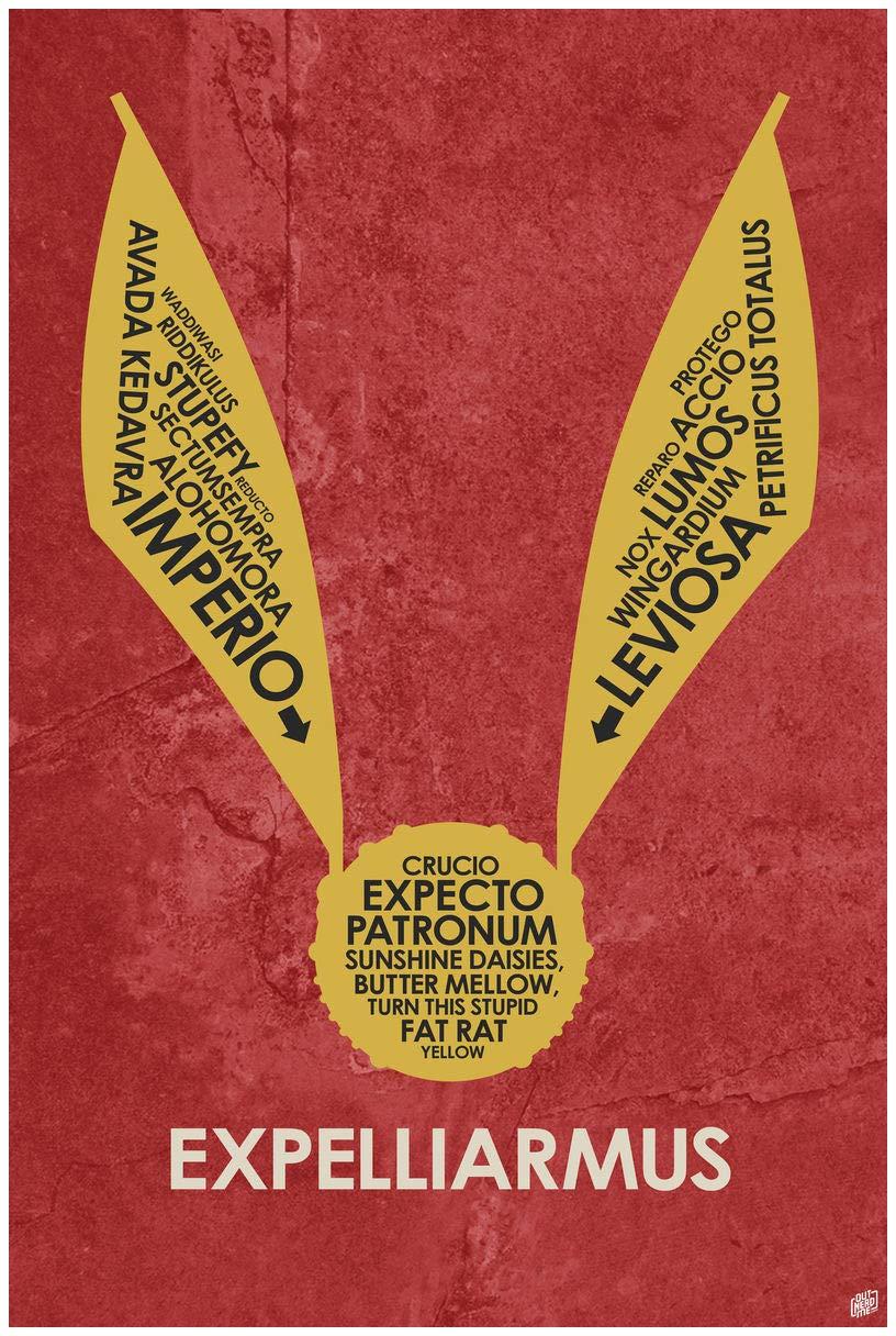 by Artist Stephen Poon. Expelliarmus Word Art Print Poster 12 x 18