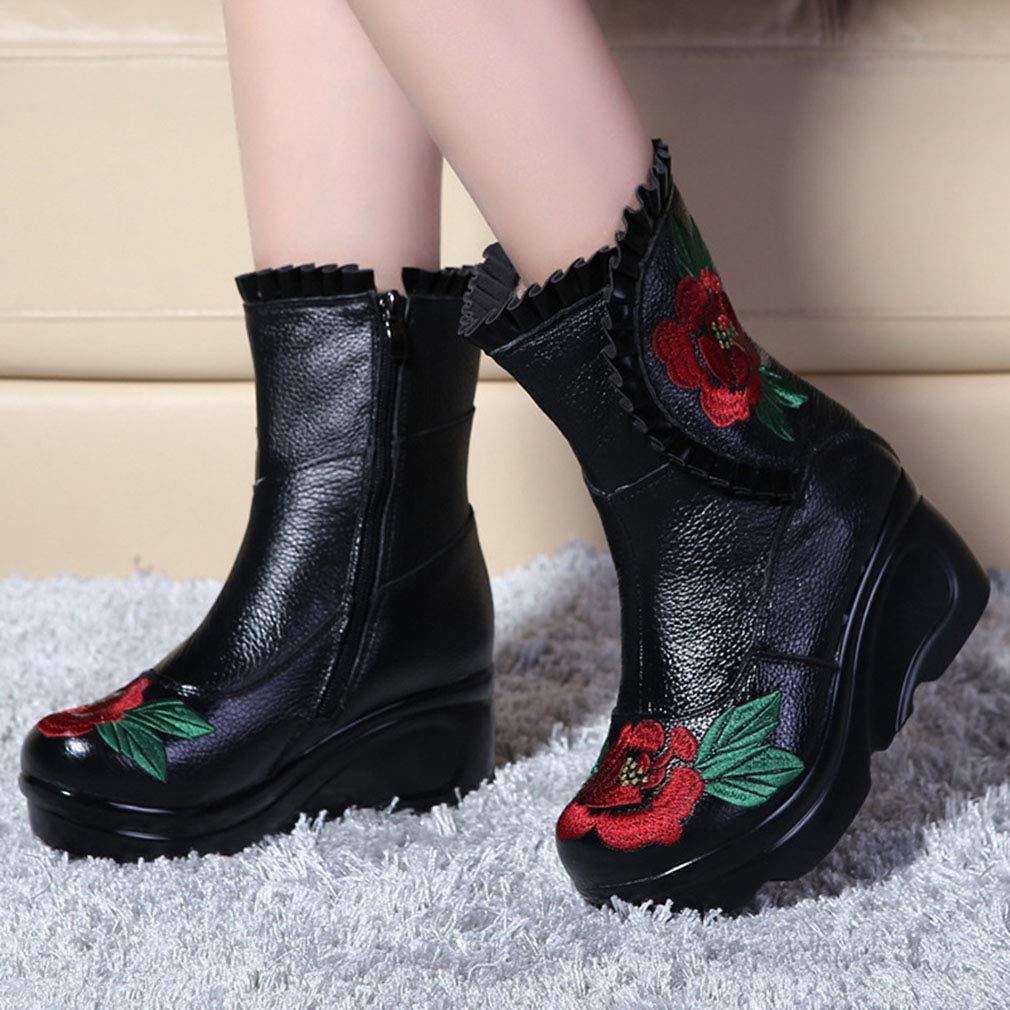 YAN Frauen hohe Stiefel Leder Herbst frühling Heels Frauen Stiefel Kniehohe Stiefel Martin Stiefel Frauen ethnische Mama Blaume Baumwolle Stiefel 623f09