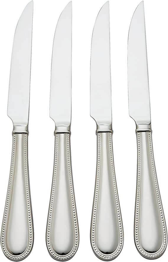 6 Steak Knives RIBBON CREST Reed /& Barton Stainless Steel Flatware