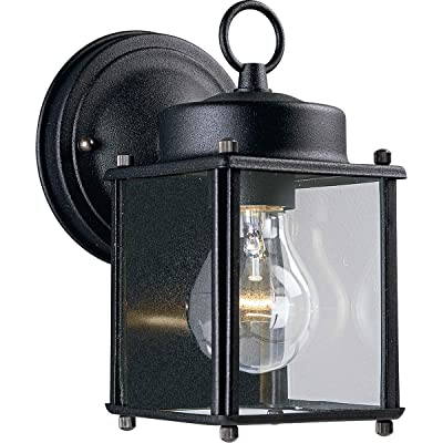 Progress Lighting P5607-31 Traditional One Light Wall Flat Glass Lantern Collection in Black Finish, 4-1/2-Inch Width x 8-Inch Height - Wall Porch Lights - .com
