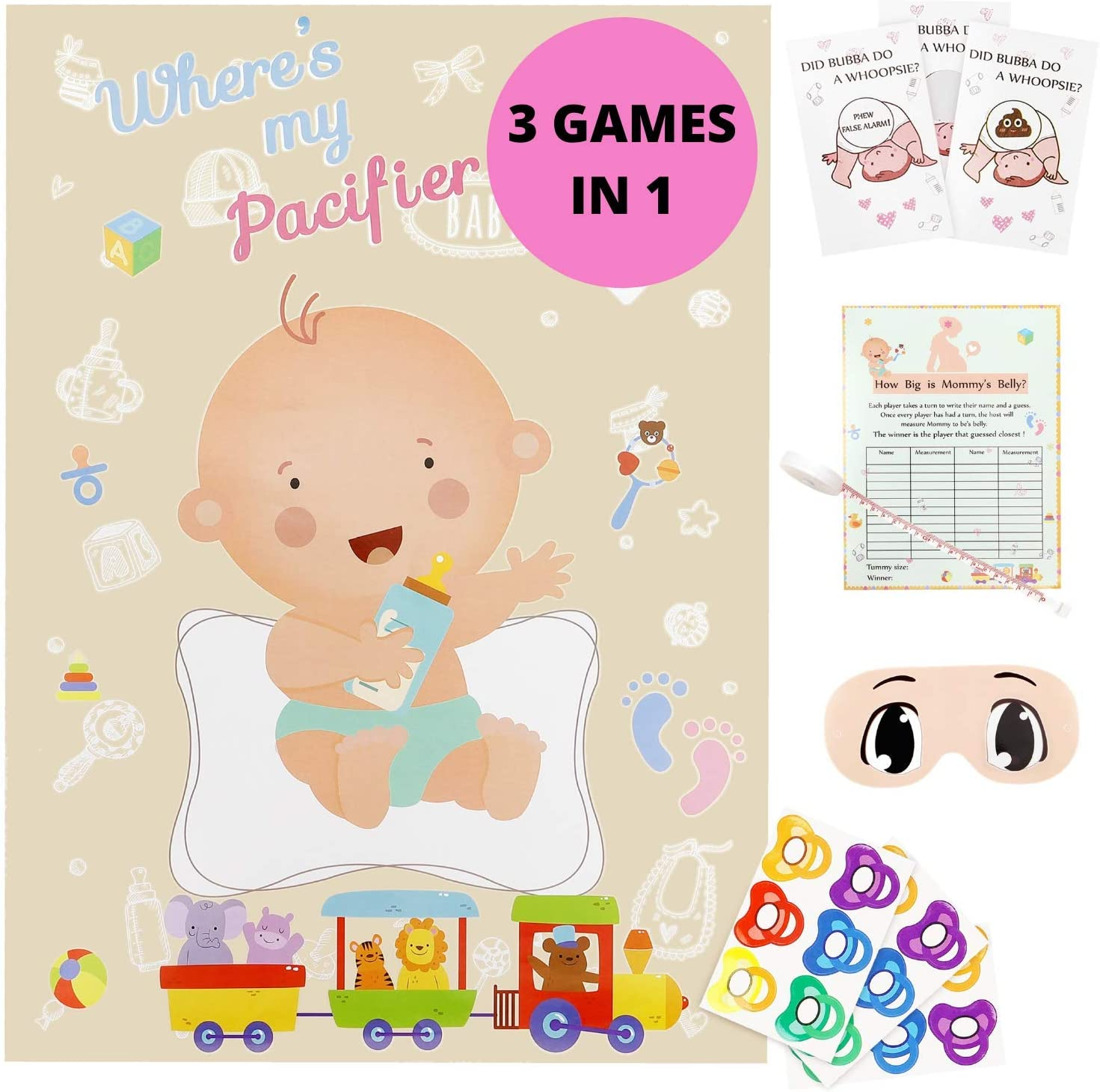 Gerrys-3 Best Selling Baby Shower Games In 1 - Did Baby Poop Scratch Off Game, Pin The Pacifier Game & Tummy Tape Baby Shower Game, Money Saving Games For Boys Baby Shower Party As Well As Girls