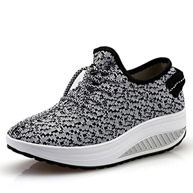 Amazon.com | JARLIF Women's Platform Wedges Tennis Walking Sneakers  Comfortable Lightweight High Heel Fitness Shoes US5-9 | Walking
