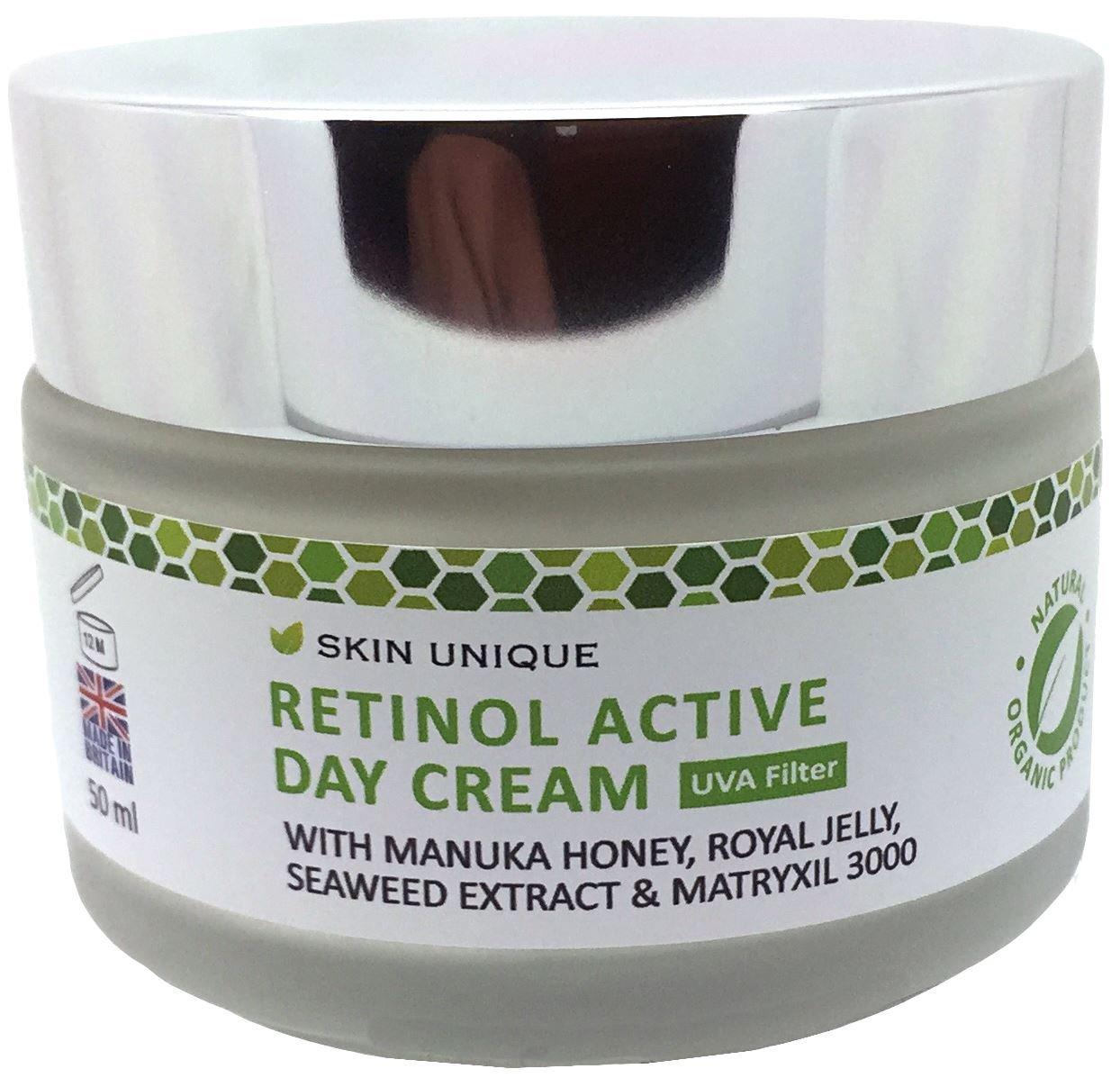 Retinol crema para el día activo 50 ml - Crema hidratante facial anti-envejecimiento natural y orgánico y relleno antiarrugas con filtro UVA, miel Manuka, ...