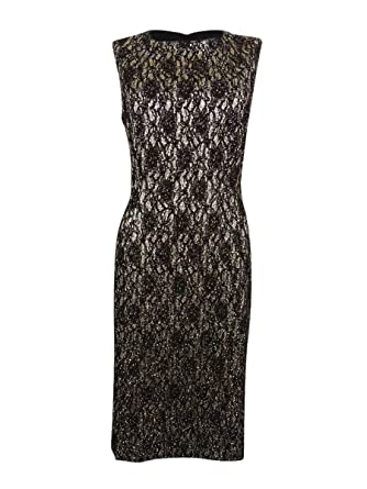 2da54520 Image Unavailable. Image not available for. Color: Tahari ASL Women's  Petite Metallic Lace Sheath Dress (14P, Gold/Black)