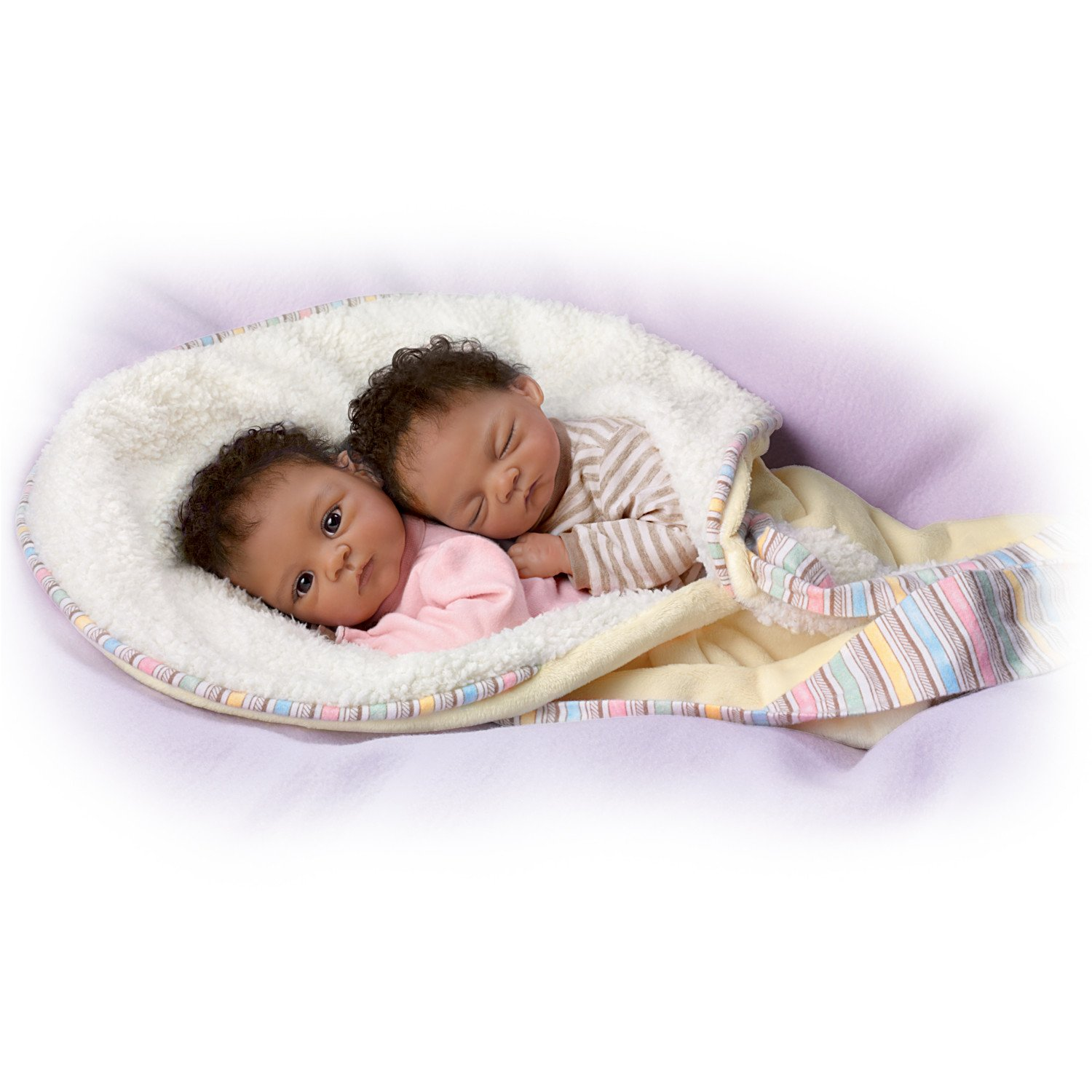 Jada and jayden twins in custom bunting so truly real lifelike realistic newborn african american baby dolls 13 inches by the ashton drake galleries