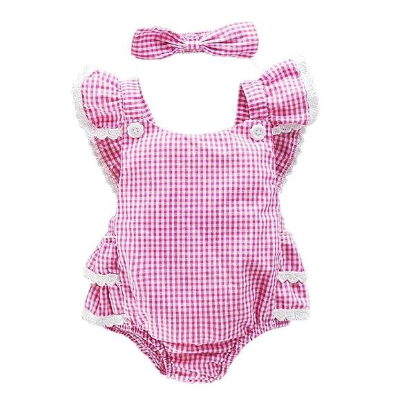 Vestidos Bebé,Switchali Niñito Infantil Recién nacido Bebé Niña Cabestro bowknot jumpsuit algodón Mono + venda Traje de baño Ropa Niñas moda linda ...