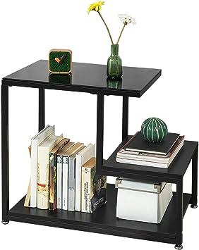 3 FBT65 Noir Bout Table Basses étagères Sch Canapé avec d'appoint SoBuy de de Rangement Tables R34A5jLq