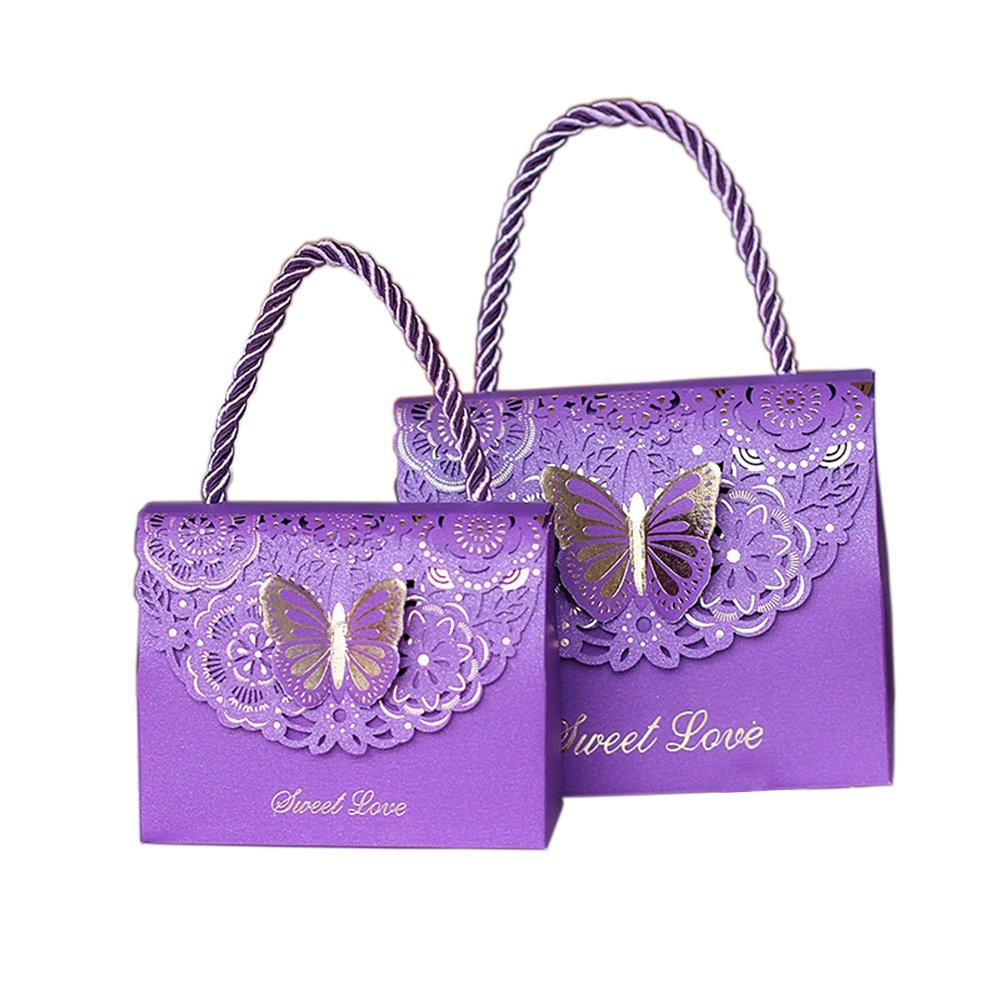 Kxtffeect 20Pcs Laser Cut Flower Wedding Favor Boxes, Favors Butterfly Gift Bags for Party Birthday Baby Shower (Purple, Large)
