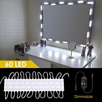 Makeup Vanity Led Mirror Kit 60 Leds 15 Ft Hollywood Dimmable Lighting Diy Vanity Light Kit With Brightness Dimmer Ul Listed Adapter For Bathroom