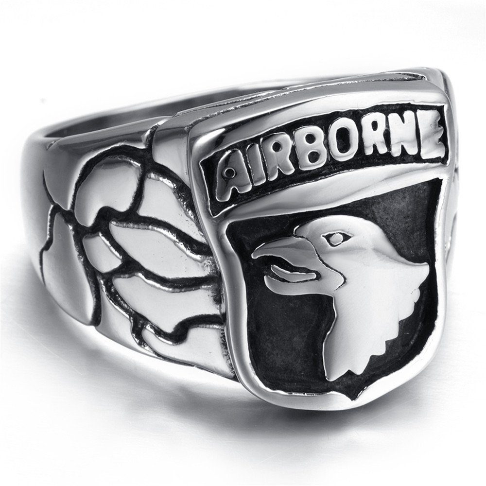 LUZO Jewelry Stainless Steel 101st AIRBORNE Divisions Screaming Eagle US Army Military Ring by LUZO (Image #3)