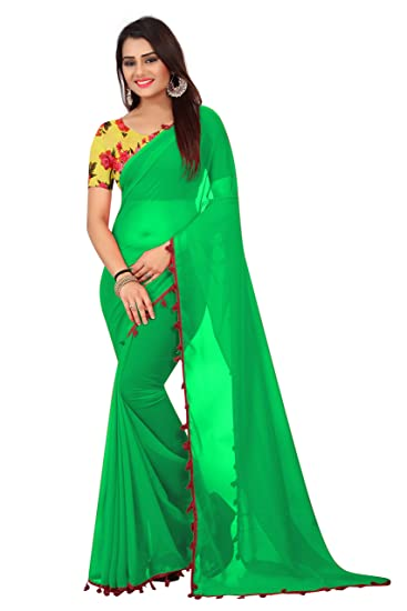d0bb5f03d6f113 Radiance Star Women s Green Colour Georgette Saree With Printed Silk Blouse  Piece  Amazon.in  Clothing   Accessories
