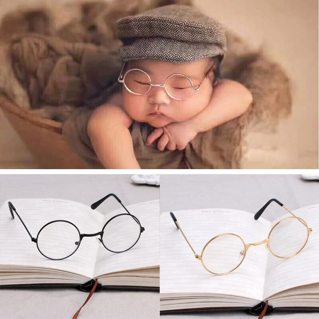 MEIYIN Vintage Newborn Baby Girl Boy Flat Glasses Gentleman Photography Props Baby Photography Glasses