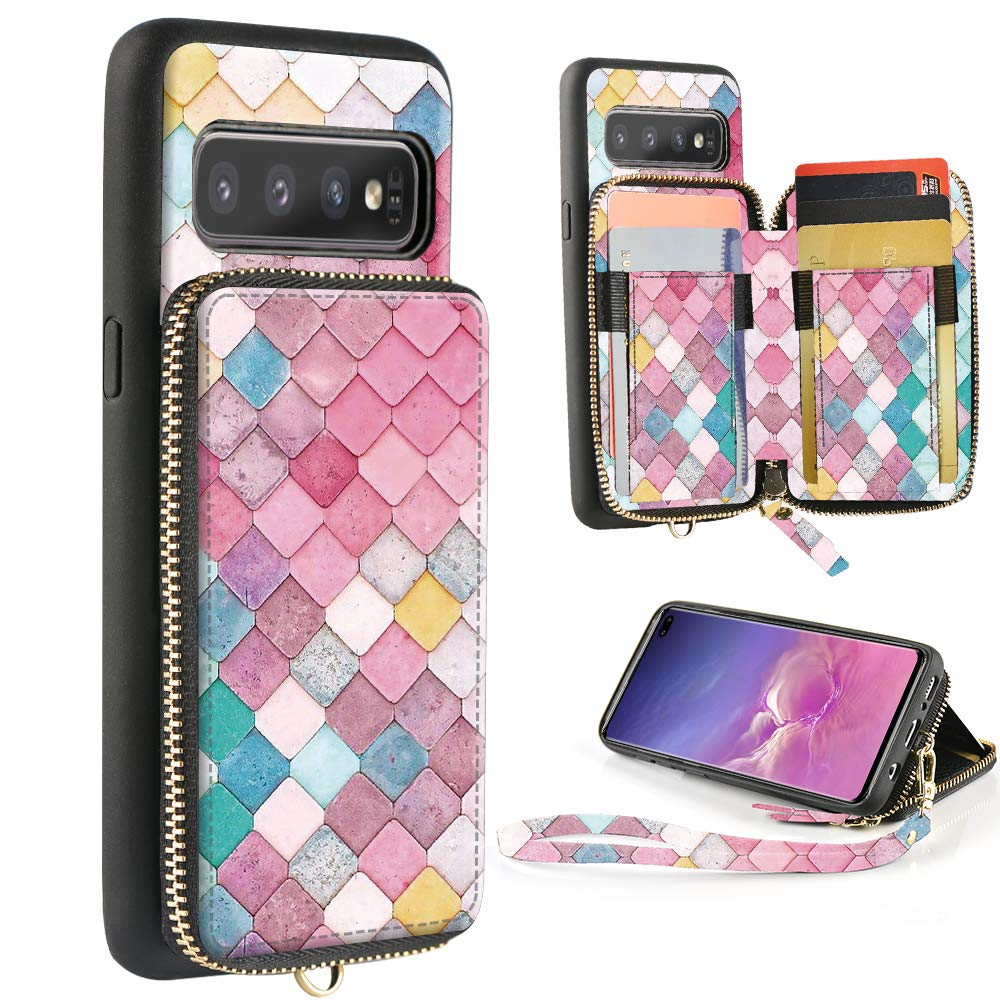 ZVE Samsung Galaxy S10+ Case Galaxy S10 Plus Wallet Case with Credit Card Holder Zipper Wallet Case Handbag Purse Print Case Cover for Samsung Galaxy S10 Plus (2019), 6.4 inch - Mermaid Wall by ZVE