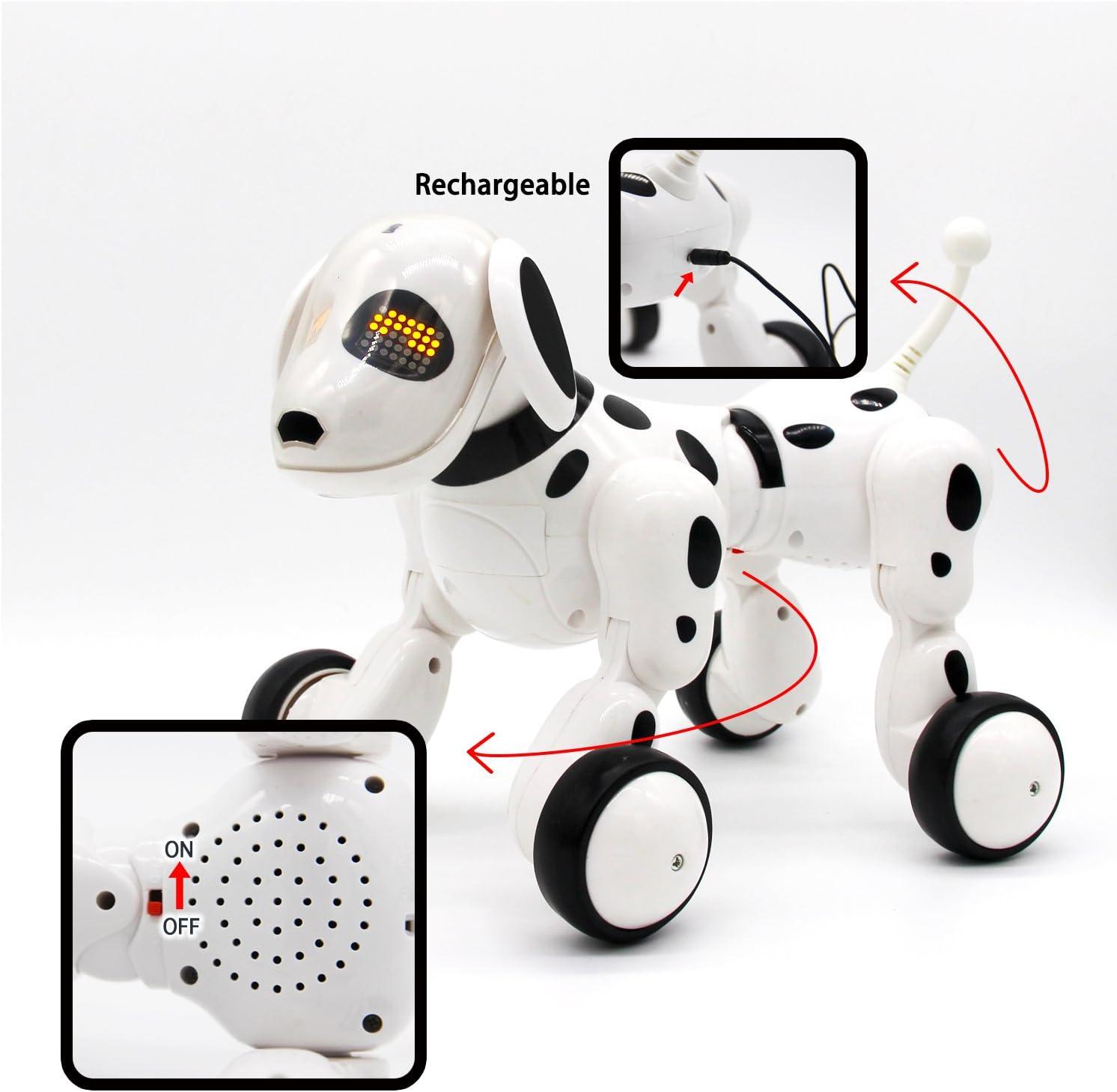 Hi-Tech Wireless Interactive Robot Puppy Robot Dog White Remote Control Dogs for Boys//Girls Children Birthday Gift