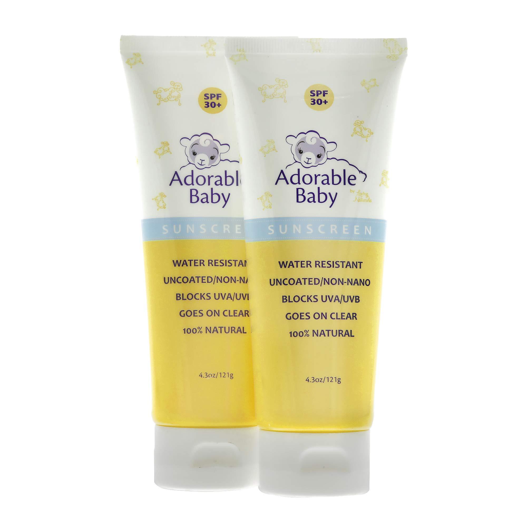 Adorable Baby All Natural Sunscreen SPF 30+ Non-Nano Zinc Oxide UVA/UVB 4.3oz By Loving Naturals (2 Pack) by Adorable Baby by Loving Naturals