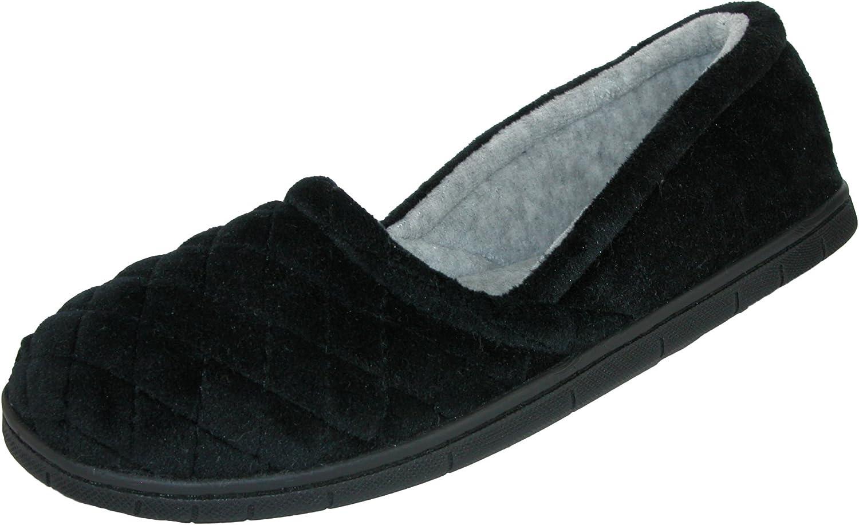 Dearfoams Microfiber Velour A-line Slippers Black Large Hard Sole