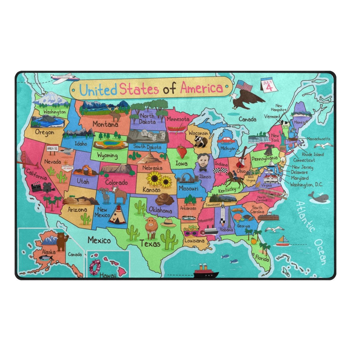 YZGO USA America Map - Kids Children Area Rugs Non-Slip Floor Mat Resting Area Doormats