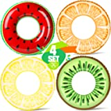 KIDPAR 4PCS Pool Floats for Kids, Inflatable Fruit Swimming Tube 29'' Toy for Summer Outdoor Fun, Water Party, Beach Time