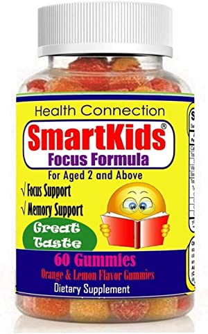 SmartKids - Brain Focus Chewable Gummies Supplements Great Taste Attention & Memory Formula for Childrens and Teens, Natural Omega 3 6 9 DHA Gummies for Kids, Calming Mutlivitamins School Study Task