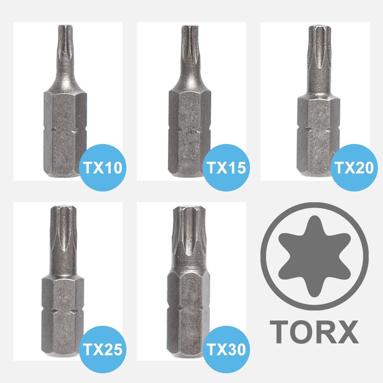 Bitsatz TX Bit Set Schraubendreher Stahl S2 Alle Gr/ö/ßen Menge 5 St/ück T10 T15 T20 T25 30 T40 Panorama24 Torx Bit T15