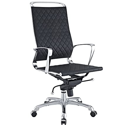 Amazon Com Modway Vibe Modern Leather Highback Office Chair Black