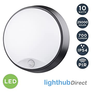 lighthub 10w led outdoor round circular wall mounted pir motion