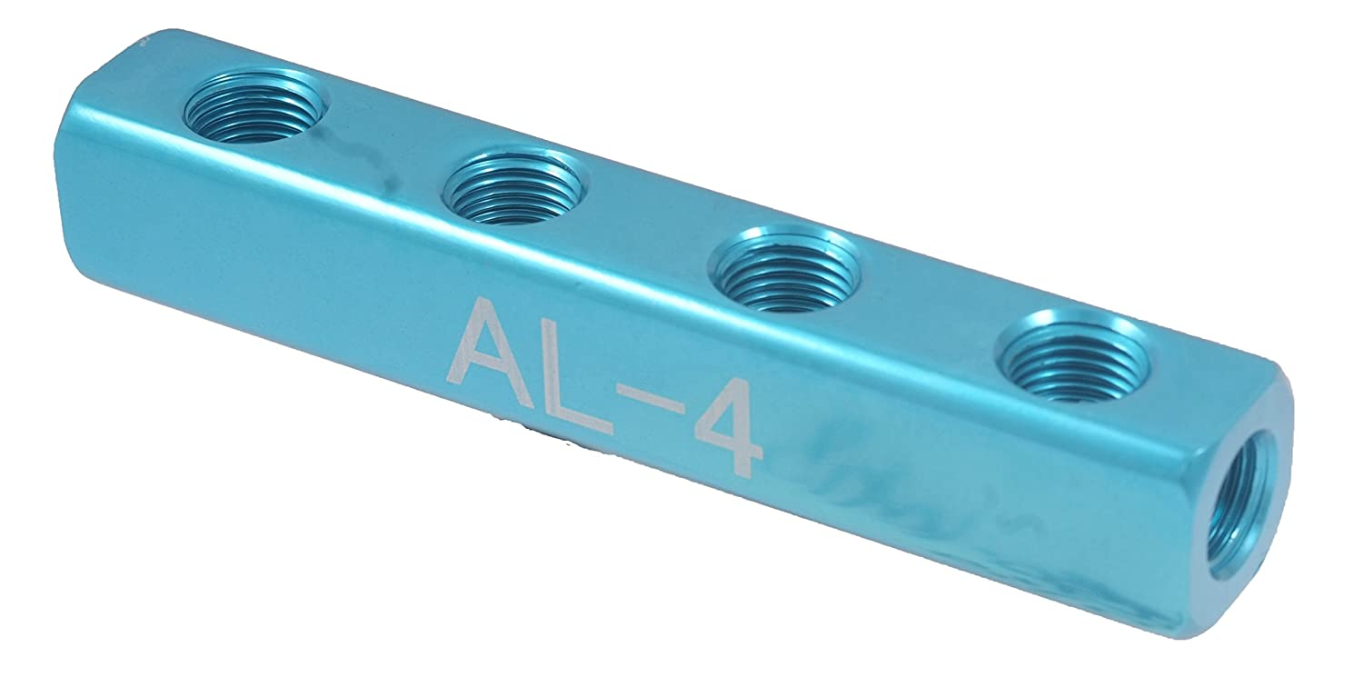 """HHIP 8401-0310 4-Port Straight Connection Manifold, 1/4"""" Inlets/Outlets"""