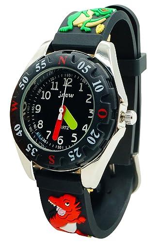 JNEW - Reloj Resistente al Agua para Niños Modelo de Dragón 3D Divertido Reloj de Pulsera Analógico de Cuarzo Reloj Deportivo Infantil Watch - Negro: ...