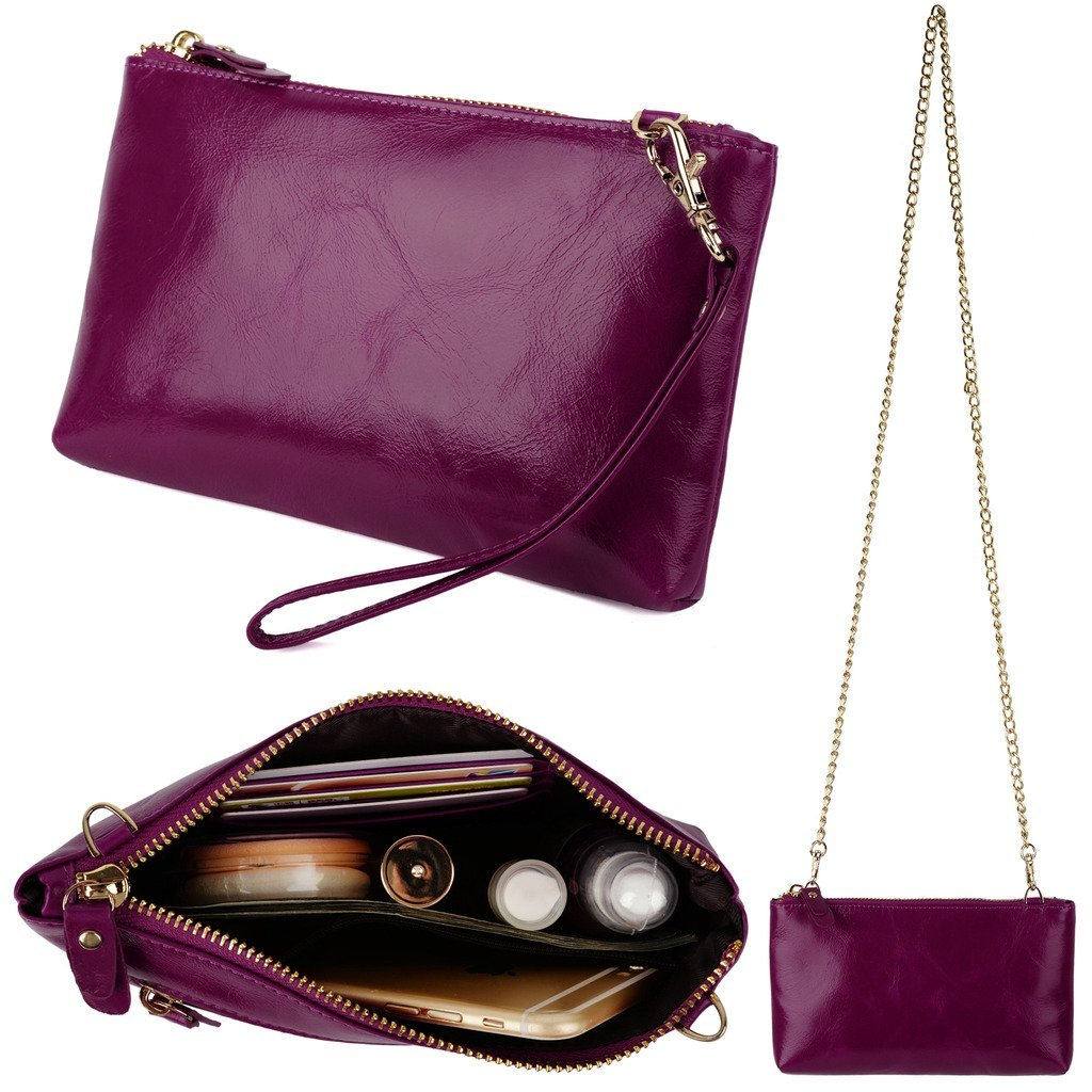 YALUXE Women's Large Capacity Soft Leather Wristlet Clutch Wallet with Shoulder Chain Purple