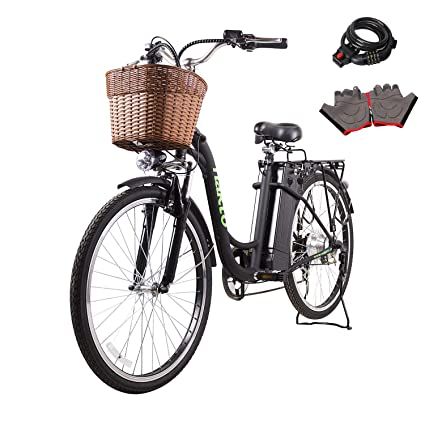 NAKTO Electric Bicycle Sporting Shimano 6 Speed Gear EBike with Removable  36V10A Lithium Battery,Charger and Lock(20