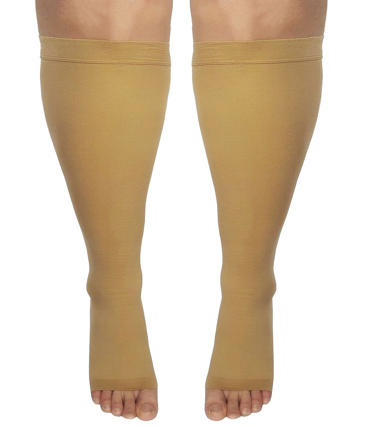 Runee Extra Wide Open Toe Medical Graded Knee High Compression Sock, Extra Large Full Calf Size For Maternity, Travel, Athletes, Sports, Diabetic and Medical Purpose (Beige)