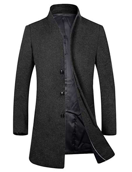 APTRO Men's Top Coat Wool French Front Long Business Winter Trench ...