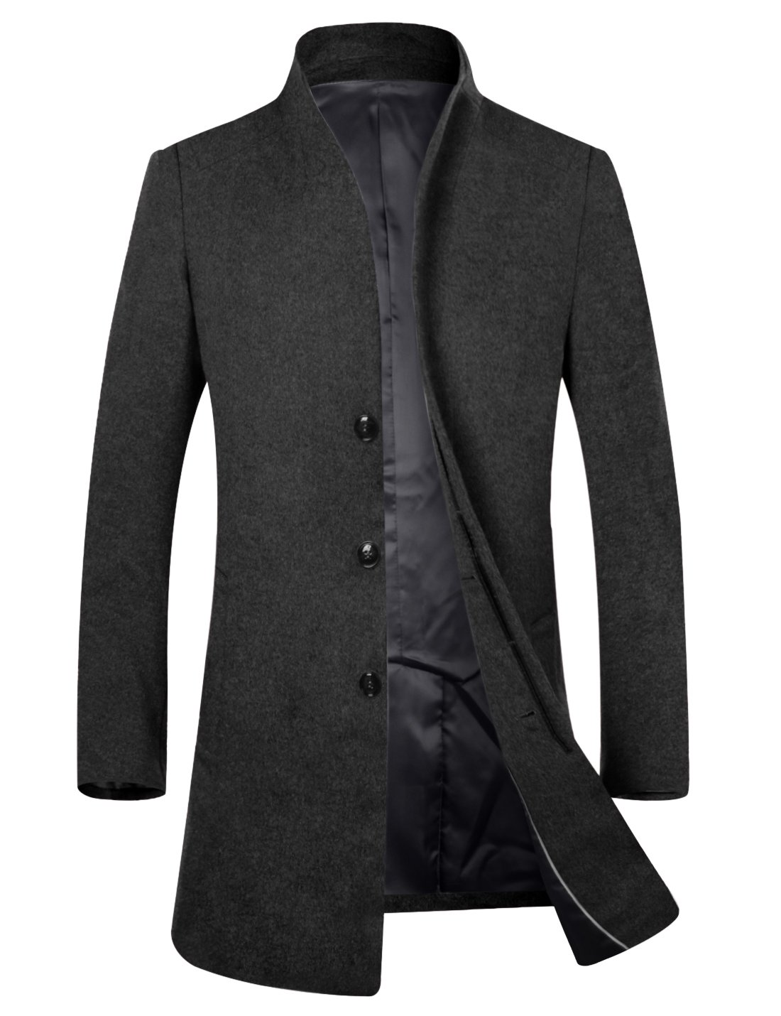 APTRO Men's Wool French Front Slim Fit Long Business Coat Black XL by APTRO