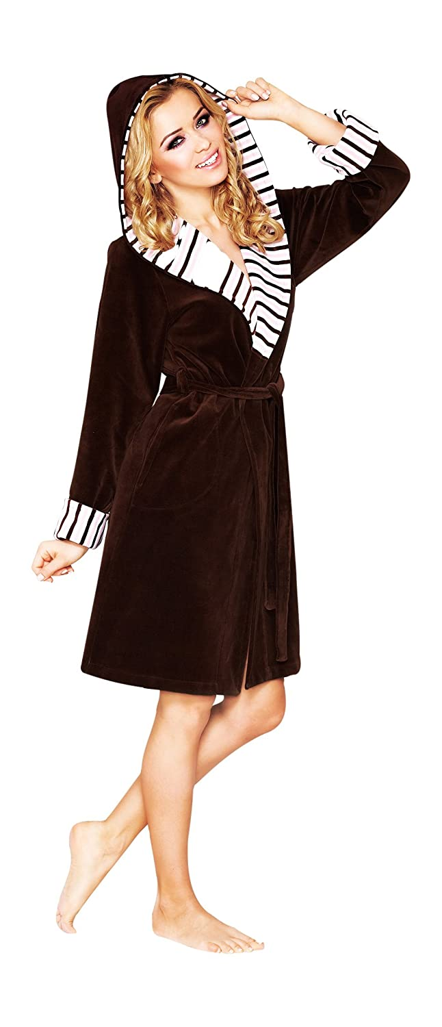 Womens Luxury SOFT COTTON Bath Robe Housecoat Dressing Gown Bathrobe with Belt and Hood, Knee Length