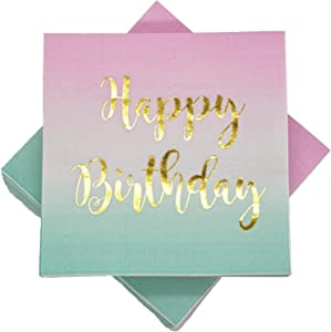 100 Count Happy Birthday Napkins 3 Ply Pink to Teal Ombre Luncheon Napkin with Metallic Gold Foil for Dinner Celebration Party Favor Supplies Decorations by Ideal Parties!