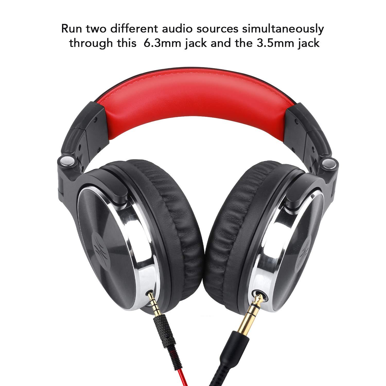 auricular sobre la oreja auriculares de estudio auriculares c/ómodos plegables con orejeras de prote/ínas y Shareport para grabaci/ó Auriculares para DJ OneOdio auriculares est/éreo de alta calidad con cable con micr/ófono