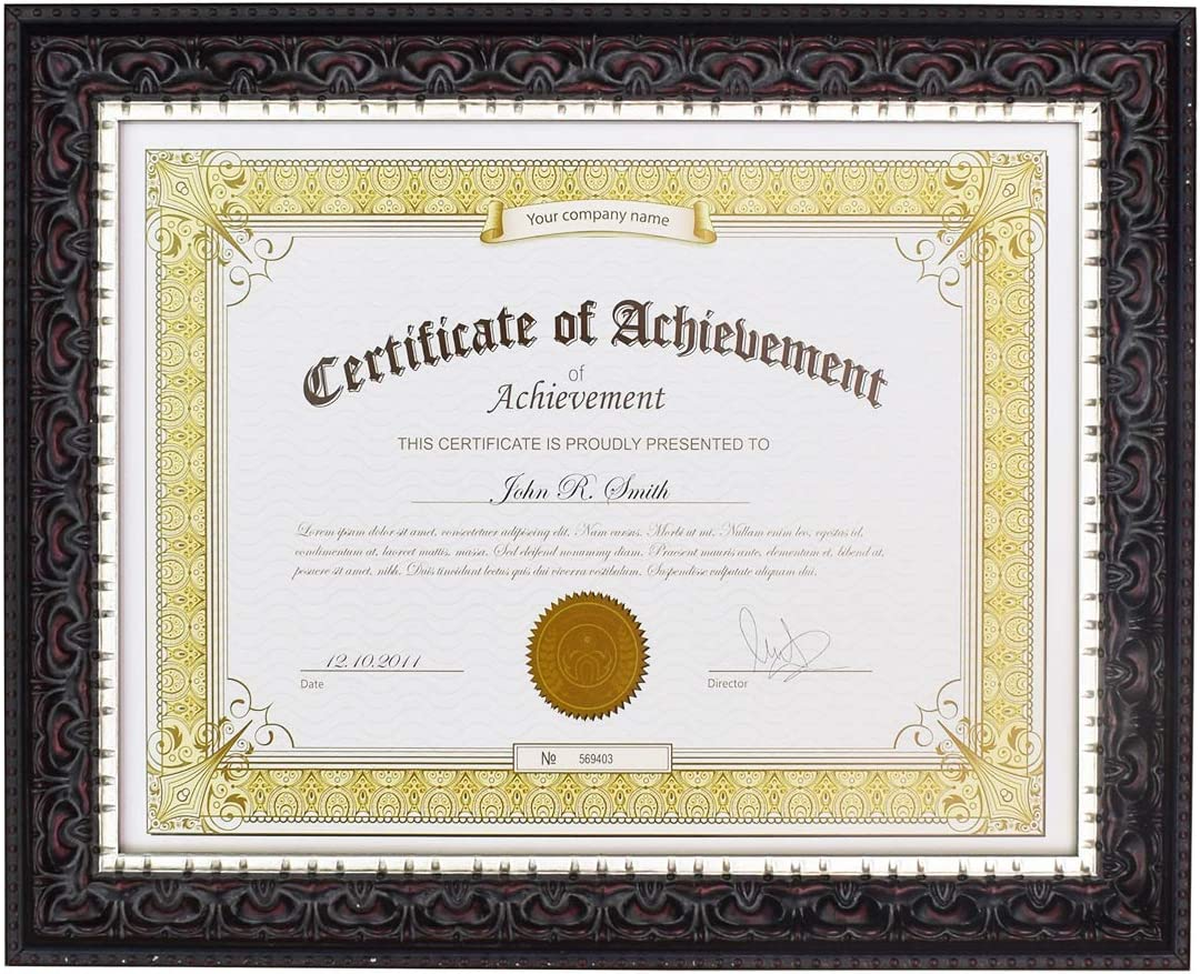 Golden State Art, 8.5x11 Photo/Certificate Frame with Real Glass. Ornate Finish Style, Color: Black with Silver and Burgundy