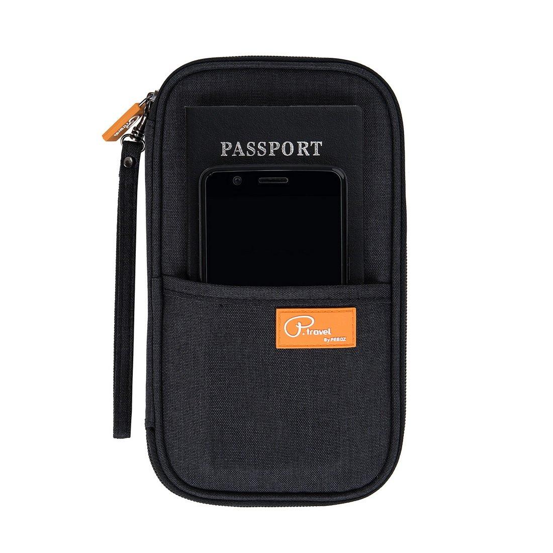 DOKEHOM DKA3202BK Travel Wallet Passport Holder Cover (3 Colors), RFID Document Organizer with Hand Strap (Black, M)
