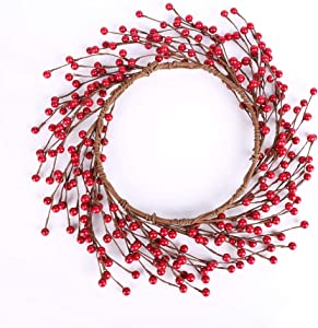 Red Berry Wreath 14 inch Pip Berries Artificial Twig Spring Autumn Wreath for Home Farmhouse Front Door Bedroom Wall Window Home Office Decor, Housewarming Gift Artificial