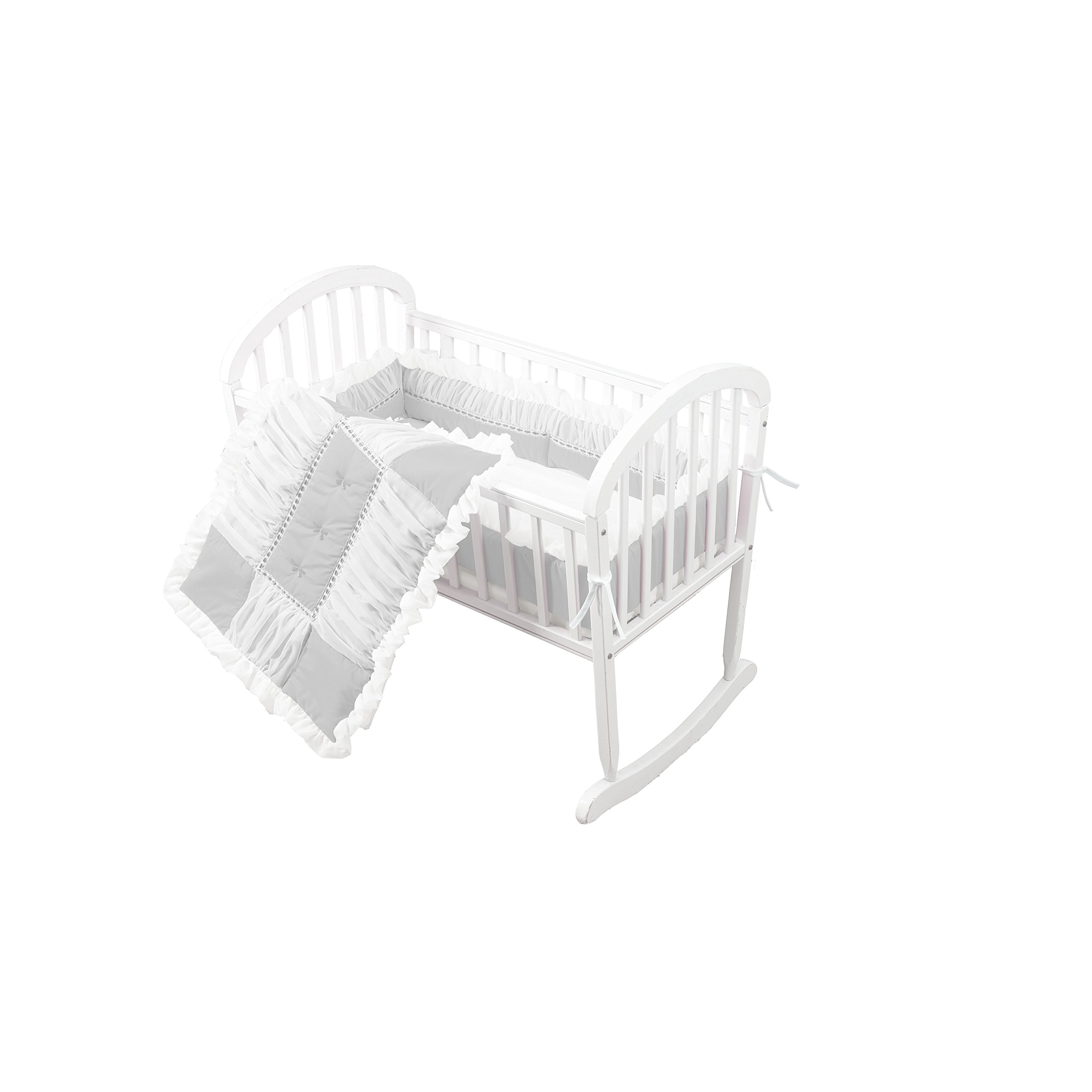 Baby Doll Sweet Touch Baby 3 Piece Cradle Bedding Set, Grey by Baby Doll