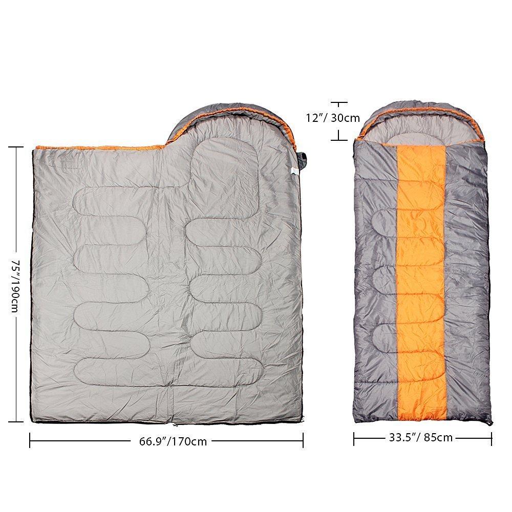 Kereith Camping Saco de Dormir sobre 3 Temporada Saco de Dormir con Capucha Interior y al Aire Libre Adulto Saco de Dormir de Invierno para Mochila Senderismo Viajes con Bolsa de compresi/ón