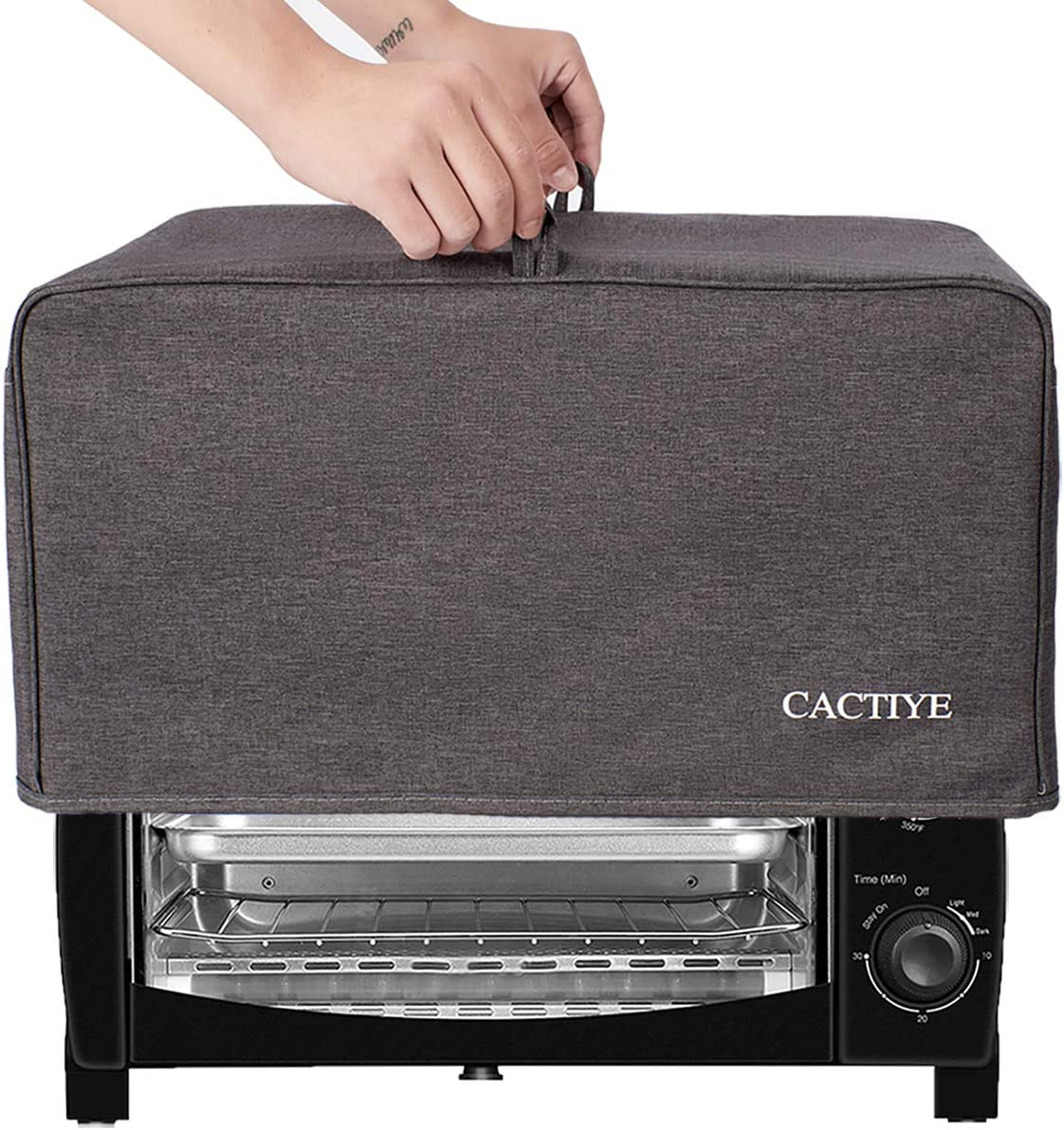 CACTIYE Toaster Oven Dust Cover with Accessory Pockets Compatible with Hamilton Beach 6 Slice of Toaster Oven (GRAY)