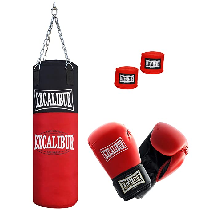 Jugend Boxsack Excalibur Allround – Handgefertigt Aus Extrem Robusten, Hochwertigen Nylon - Inklusive Kettenaufhängung, Drehw