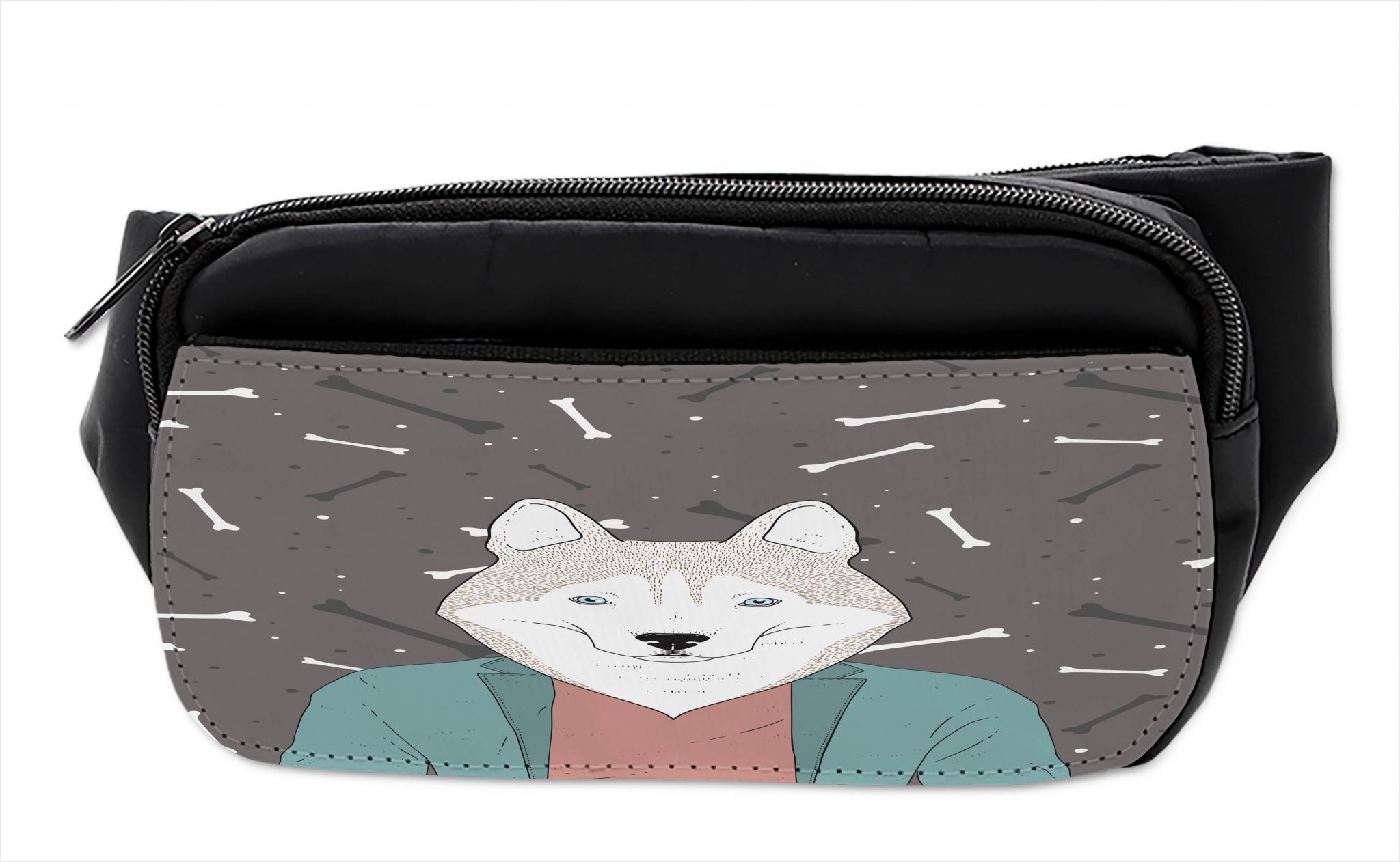 Lunarable Husky Bumbag, Hipster Dog in Blazer Jacket, Fanny Pack Hip Waist Bag by Lunarable