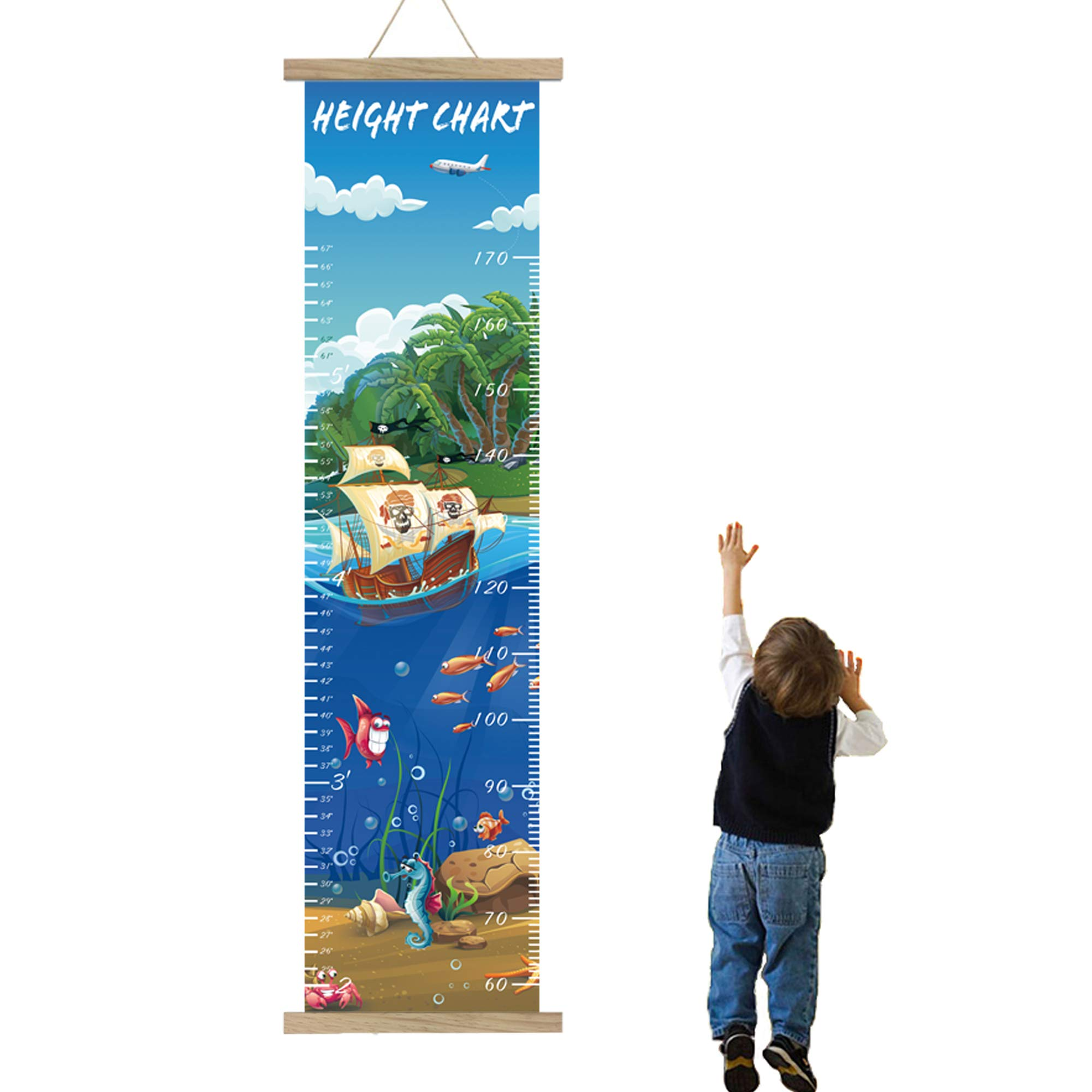 Panda_mall Height Growth Chart for Kids Roll-up Canvas Height Chart Removable Wall Hanging Measurement Chart Wall Decoration with Wood Frame for Boys Girls Kids Room(Pirate) by ETIUC