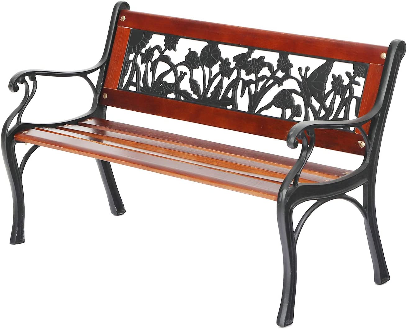 "PHI VILLA Outdoor Garden Bench for Children, 33""L Small Metal Bench with Wood Clearance Seating & Floral Pattern Back for Patio, Lawn, Balcony, Backyard, Porch and Indoor - Black"