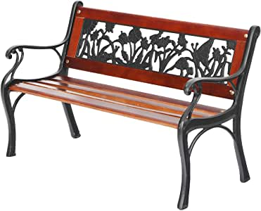 "PHI VILLA Outdoor Garden Bench for Children, 33""L Metal Bench with Wood Seating & Floral Pattern Back for Patio, Lawn, Balcony, Backyard, Porch and Indoor - Black"
