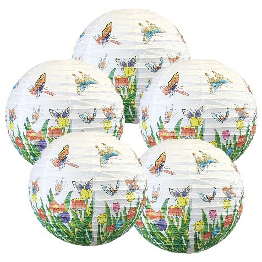Just Artifacts Butterflies Pattern 16'' Round Decorative Paper Lanterns (Set of 5)